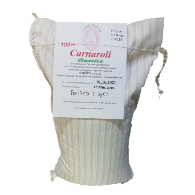 Sacchetto in stoffa tradizionale, con cuciture bianche e etichetta in cartoncino di Riso Carnaroli Classico Riso Corbetta da 1Kg