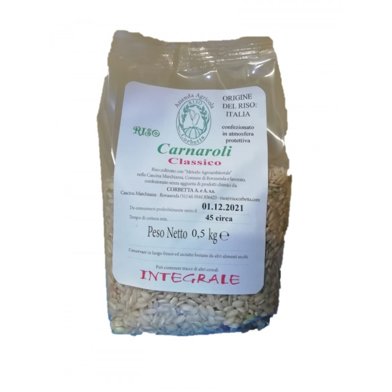 Sacchetto in plastica trasparente di Riso Carnaroli Classico Integrale da 0,5 kg in atmosfera protettiva Riso Corbetta