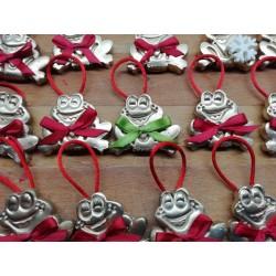 Decorazione fatta in amido di mais e pitturata a mano, compresa con i sacchetti natalizi Riso Corbetta.