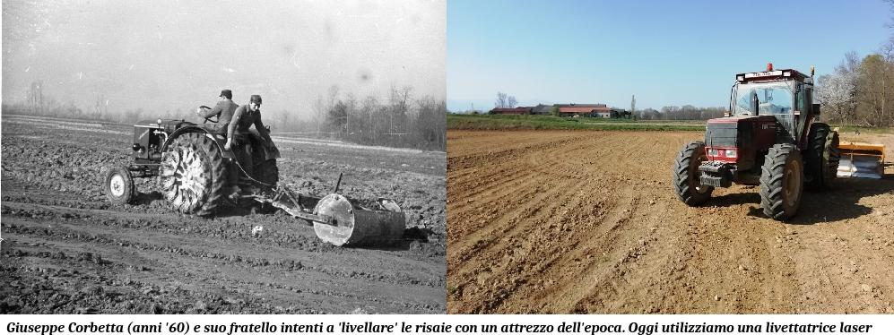 Livellatura delle risaie, foto del passato e dei giorni nostri presso Riso Corbetta